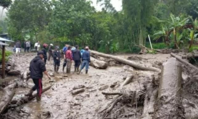Situasi lokasi banjir bandang di Desa Tugu Selatan, Kawasan Puncak, Cisarua, Kabupaten Bogor, Jawa Barat, Selasa (19/1). (ANTARA/LINGKAR.CO)