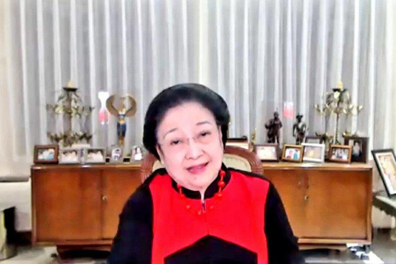 Tangkapan layar Ketua Umum PDI Perjuangan Megawati Soekarno Putri saat memberikan arahan kepada jajaran pengurus PDI P secara virtual.(ANTARA/LINGKAR.CO)