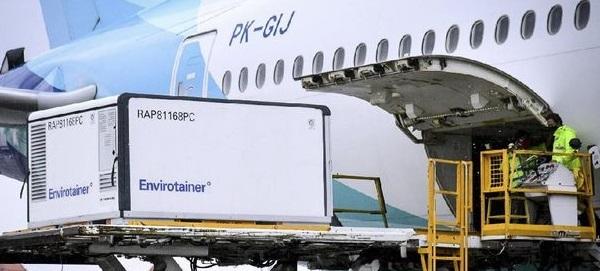 Ilustrasi Vaksin Covid diangkut melalui pesawat. (ANTARA/LINGKAR.CO)