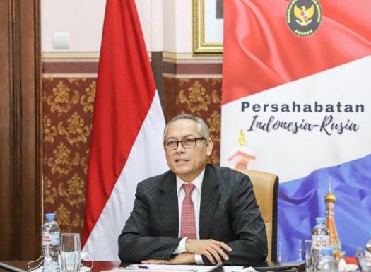 """SAMBUTAN: Duta Besar RI untuk Rusia Jose Tavares pada Russia-Indonesia Online Business Forum: """"Digital Economy and Tourism Investment Opportunities"""" belum lama ini (16/03). (ANTARA/DOK. KBRI MOSKOW/LINGKAR.CO)"""