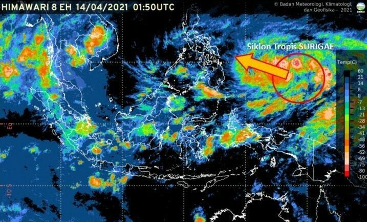 PERGERAKAN: Pantauan Badan Meteorologi, Klimatologi, dan Geofisika (BMKG) terkait pergerakan Siklon Surigae. (ANTARA/LINGKAR.CO)