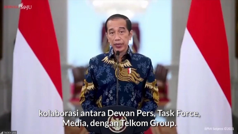 Tangkapan Layar Presiden Joko Widodo saat memberikan sambutan dalam peluncuran TADEX di Jakarta, Selasa (29/06/2021). Muhammad Nurseha/Lingkar.co