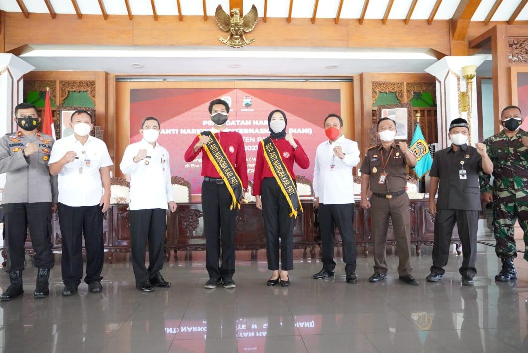 GELAR: Dinas Pemuda, Olahraga dan Pariwisata (Dinporapar) Kabupaten Pati peringati Hari Anti Narkoba Internasional (HANI) tahu 2021 di Pendopo Pati, Rabu (30/6/21). (ISTIMEWA/LINGKAR.CO)