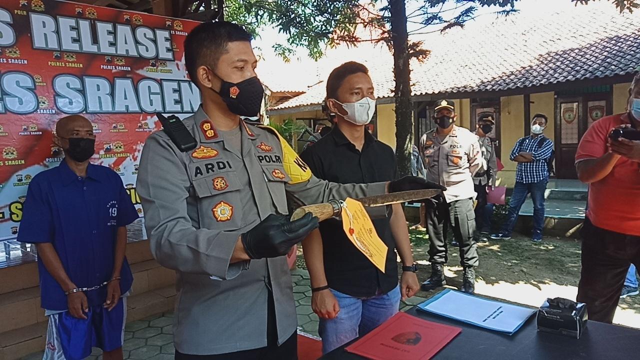 Press Release Polres Sragen terkait ancaman pembacokan tenaga kesehatan. MUKHTARUL HAFIDH/LINGKAR.CO