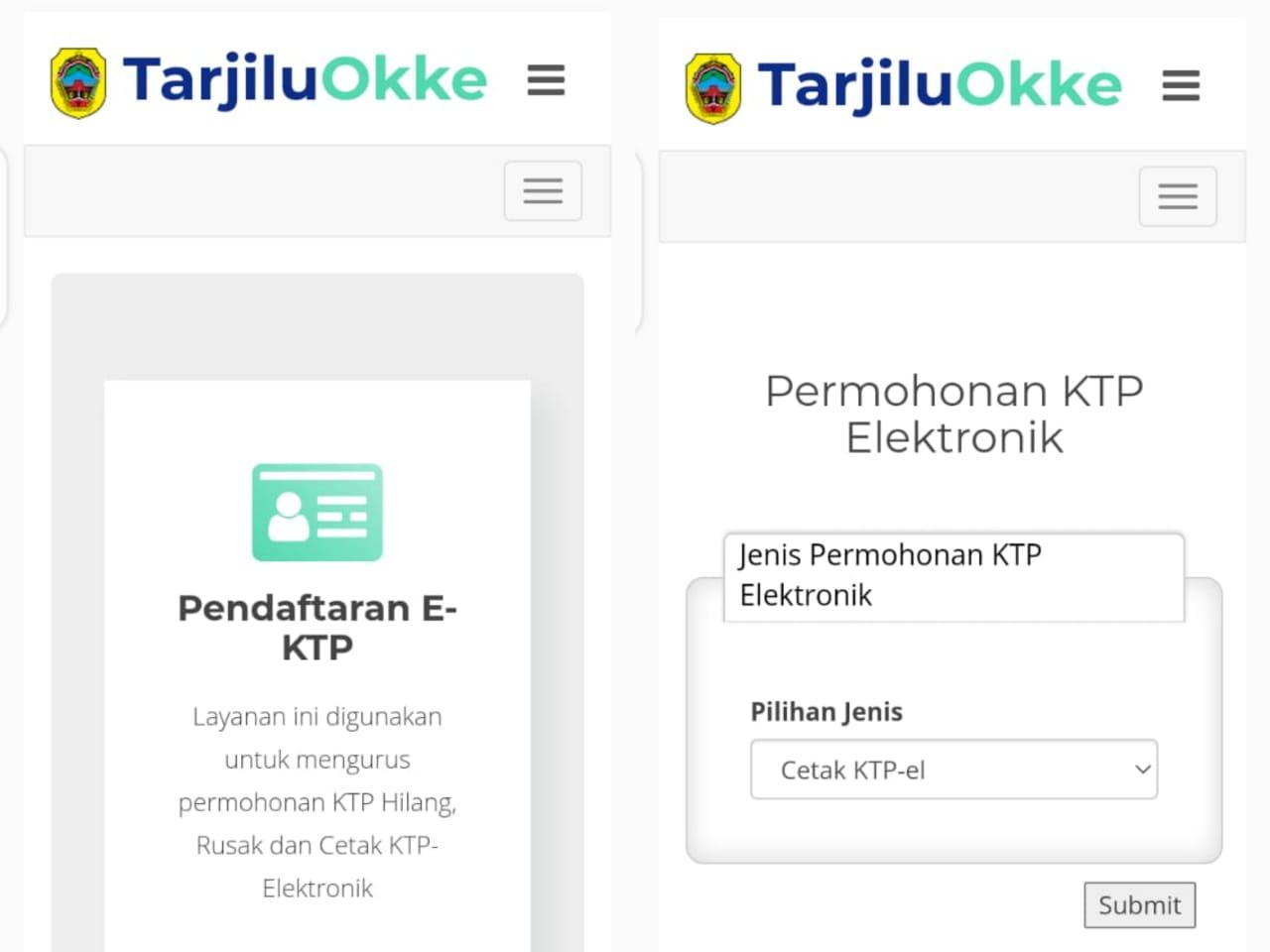 APLIKASI: Tampilan aplikasi Tarjilu Okke milik Dinas Kependudukan dan Pecatatan Sipil (Disdukcapil) Kabupaten Pati. (ISTIMEWA/LINGKAR.CO)