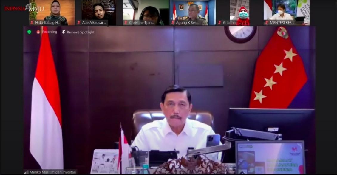 Tangkapan Layar Menko Kemaritiman dan Investasi Luhut Binsar Pandjaitan, dia mengatakan jika pelaksanaan PPKM Darurat belum diputuskan perpanjangan atau penyelesaiannya. ISTIMEWA/LINGKAR.CO