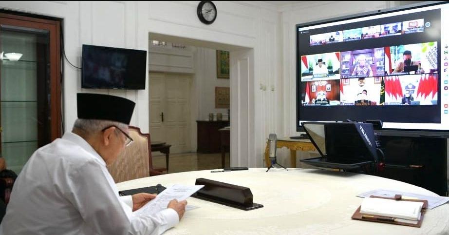 VIRTUAL: Wapres saat memimpin Rakor Penanganan Pandemi COVID-19 bersama Satgas Daerah dan Forkopimda Jateng, Jumat (24/07/2021) melalui konferensi video. (ISTIMEWA/LINGKAR.CO)