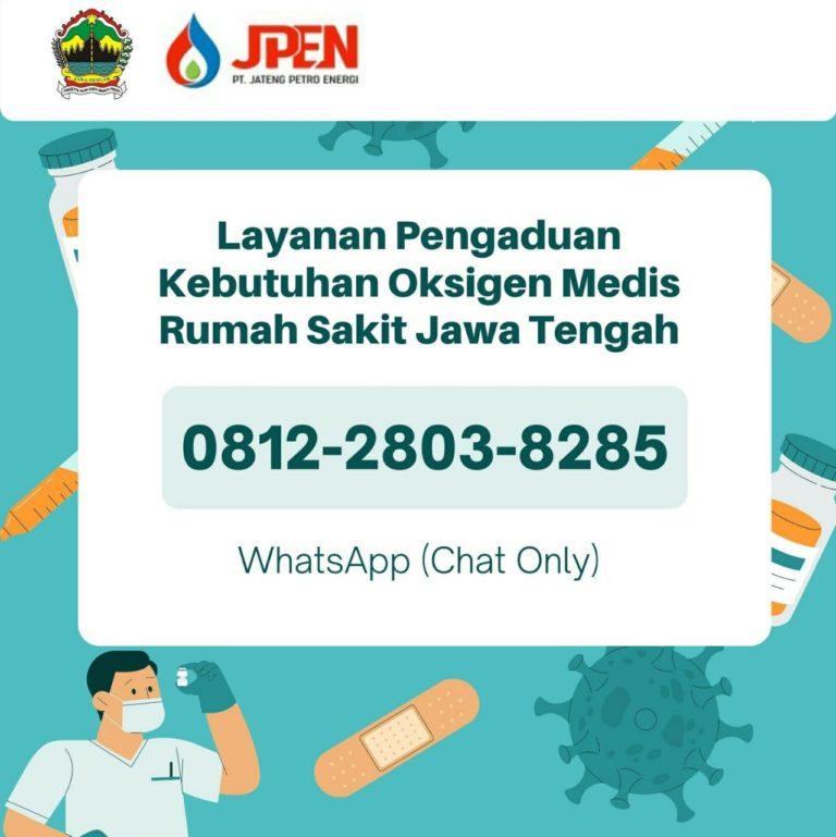 Nomor pengaduan Kebutuhan Oksigen bagi yang membutuhkan. Dok. Humas Pemprov Jateng/Lingkar.co