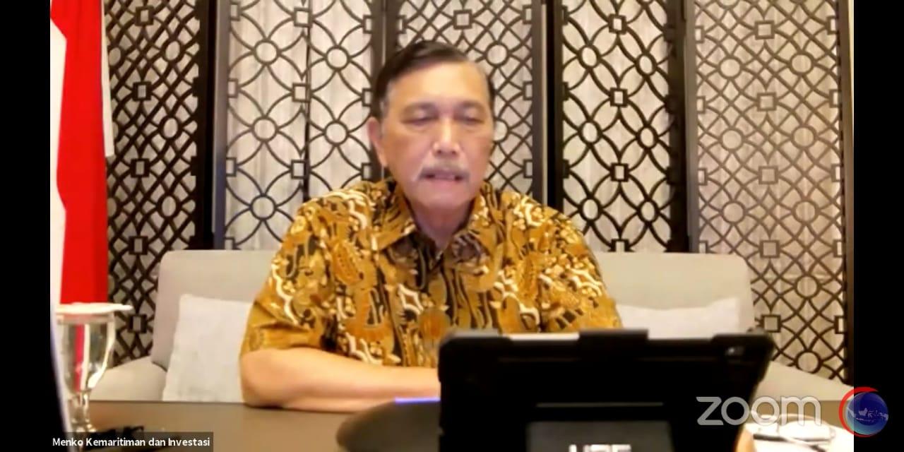 VIRTUAL: Menko Marves, Luhut Binsar Pandjaitan, dalam konferensi pers daring, Senin (16/8/2021) malam. (ISTIMEWA/LINGKAR.CO)