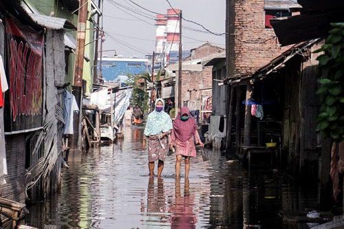 PERISTIWA: Wilayah Tambak Lorok, Semarang, yang hampir setiap hari terendam rob. (DINDA RAHMASARI/LINGKAR.CO)