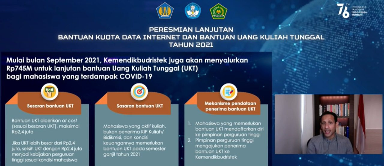 Menkeu, Sri Mulyani Indrawati. saat Peresmian Lanjutan Bantuan Kuota Internet dan Bantuan UKT secara daring, Rabu (4/8/2021). FOTO: Tangkapan layar Youtube Kemendikbud/Lingkar.co
