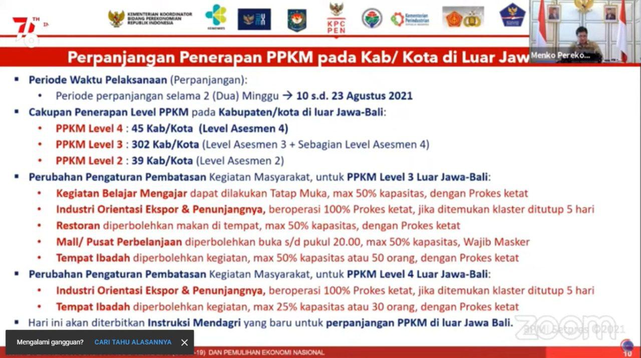 Menko Perekonomian, Airlangga Hartarto, saat memaparak perpanjangan PPKM Level 4 luar Jawa-Bali, dalam siaran pers virtual, Senin (9/8/2021) malam. FOTO: Tangkapan layar Youtube Setpres/Lingkar.co