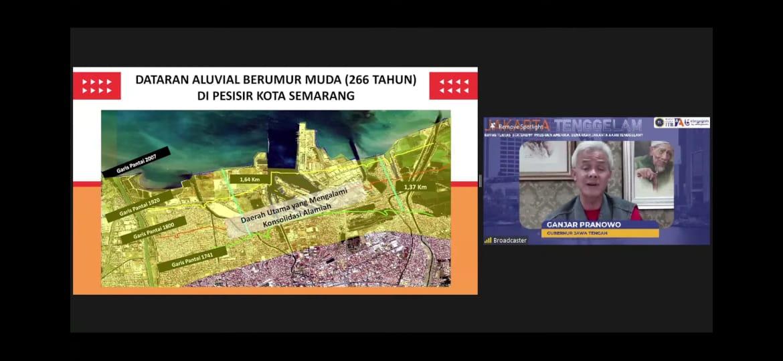 Gubernur Jateng Ganjar Pranowo mengaku sempat ditegur Megawati Soekarnoputri, saat memberikan materi dalam Webinar Jakarta Tenggelam bersama Ikatan Alumni ITB, Selasa (10/8/2021). FOTO: Tangkapan layar Youtube Alumni ITB/Lingkar.co