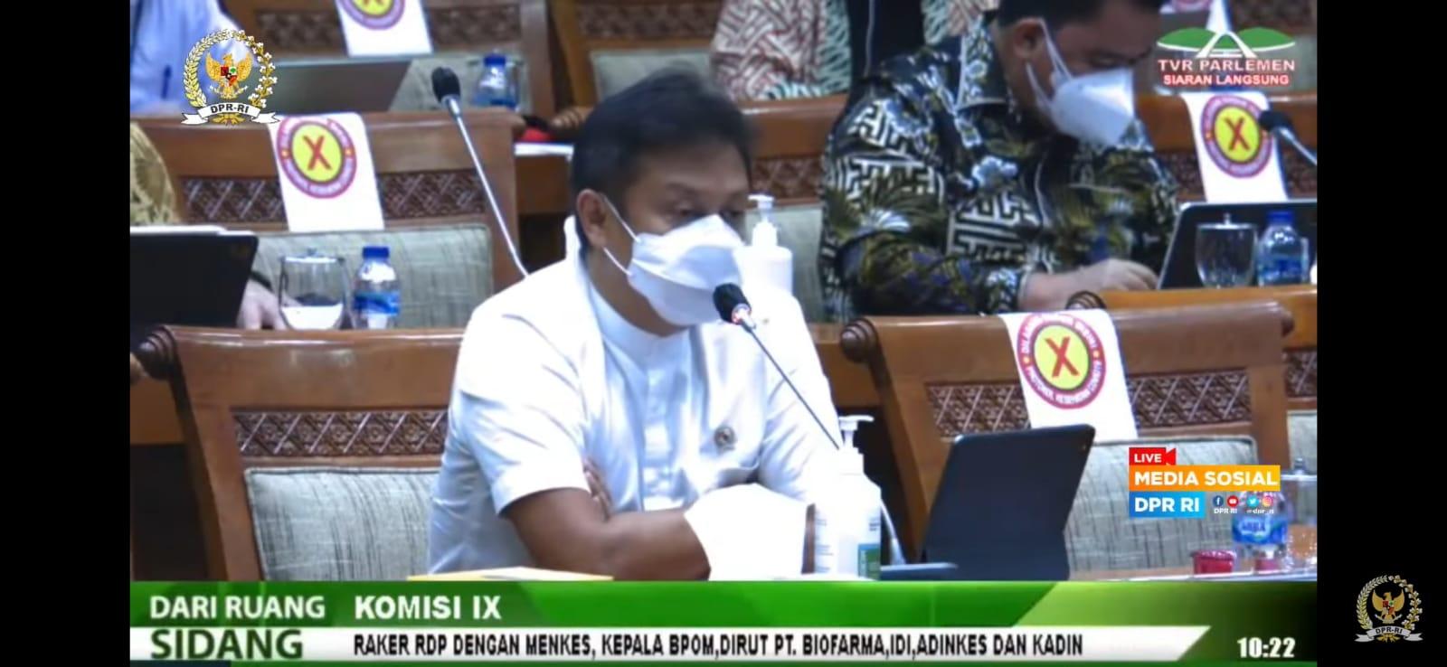 Menkes, Budi Gunadi Sadikin, dalam Rapat Kerja bersama Komisi IX DPR RI, Rabu (25/8/2021). FOTO: Tangkap layar Youtube DPR/Lingkar.co