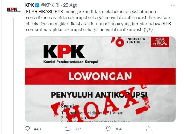 ILUSTRASI- Pamflet berisi tentang lowongan penyuluh antikorupsi. KPK menegaskan informasi tersebut, hoaks. FOTO: Tangkap layar Twitter KPK/Lingkar.co