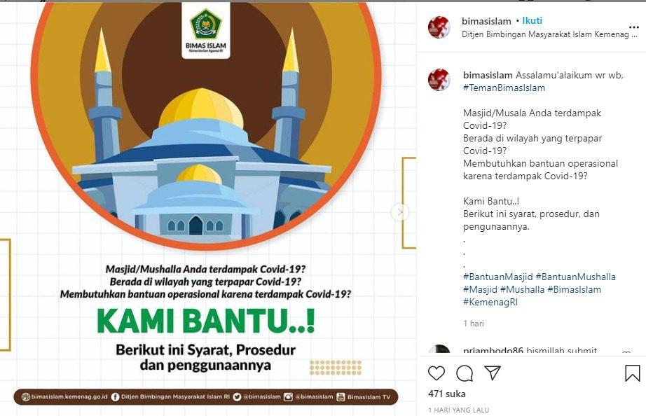 Tangkapan layar unggahan Ditjen Bimas Islam mengenai bantuan operasional masjid dan musala pada daerah terdampak Covid-19 tahun anggaran 2021. FOTO: Instagram @bimasislam/Lingkar.co