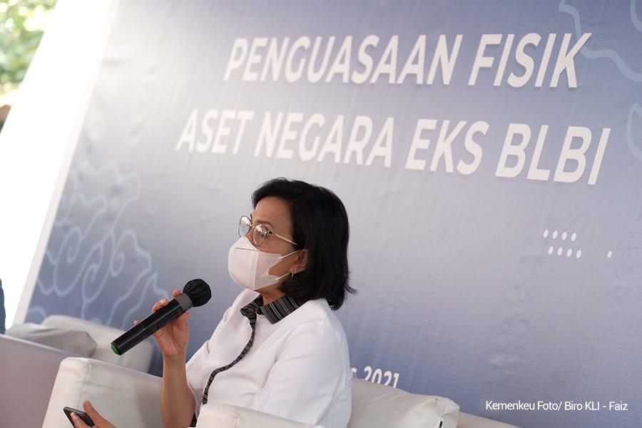 Menkeu, Sri Mulyani, dalam kegiatan pengambilalihan dan penguasaan aset BLBI, Jumat (27/8/2021). FOTO: Dok. Kemenkeu/Lingkar.co