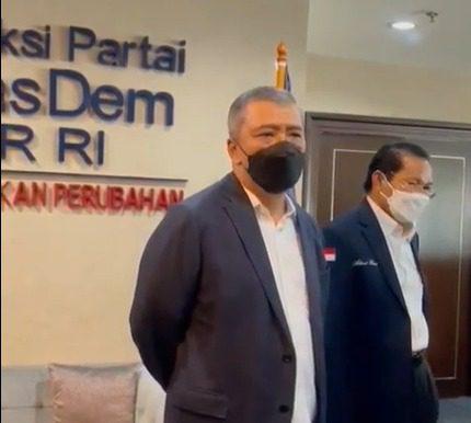 Wakil Ketua Umum DPP Partai NasDem, Ahmad M. Ali, saat konferensi pers di Ruang Fraksi NasDem DPR, Senin (30/8/2021) sore. FOTO: Tangkap layar Zoom/Lingkar.co