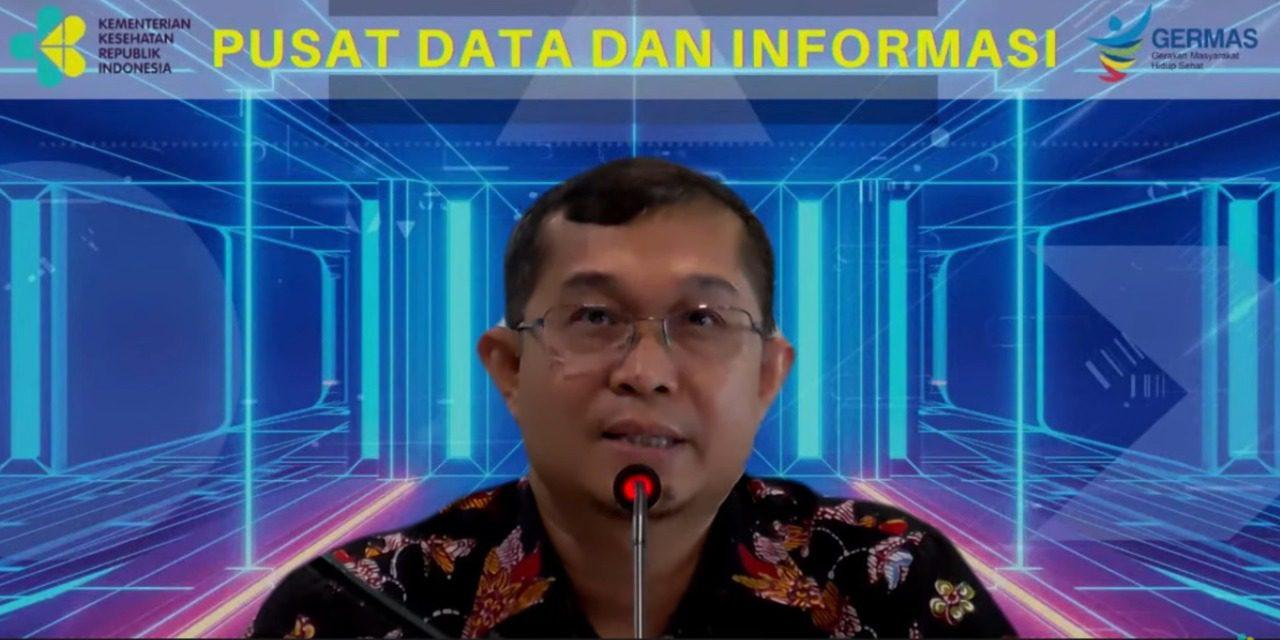 Kepala Data dan Informasi Kemenkes, dr. Anas Maruf, dalam konferensi pers virtual, Selasa (31/8/2021). FOTO: Tangkap layar Youtube Kemenkes/Lingkar.co