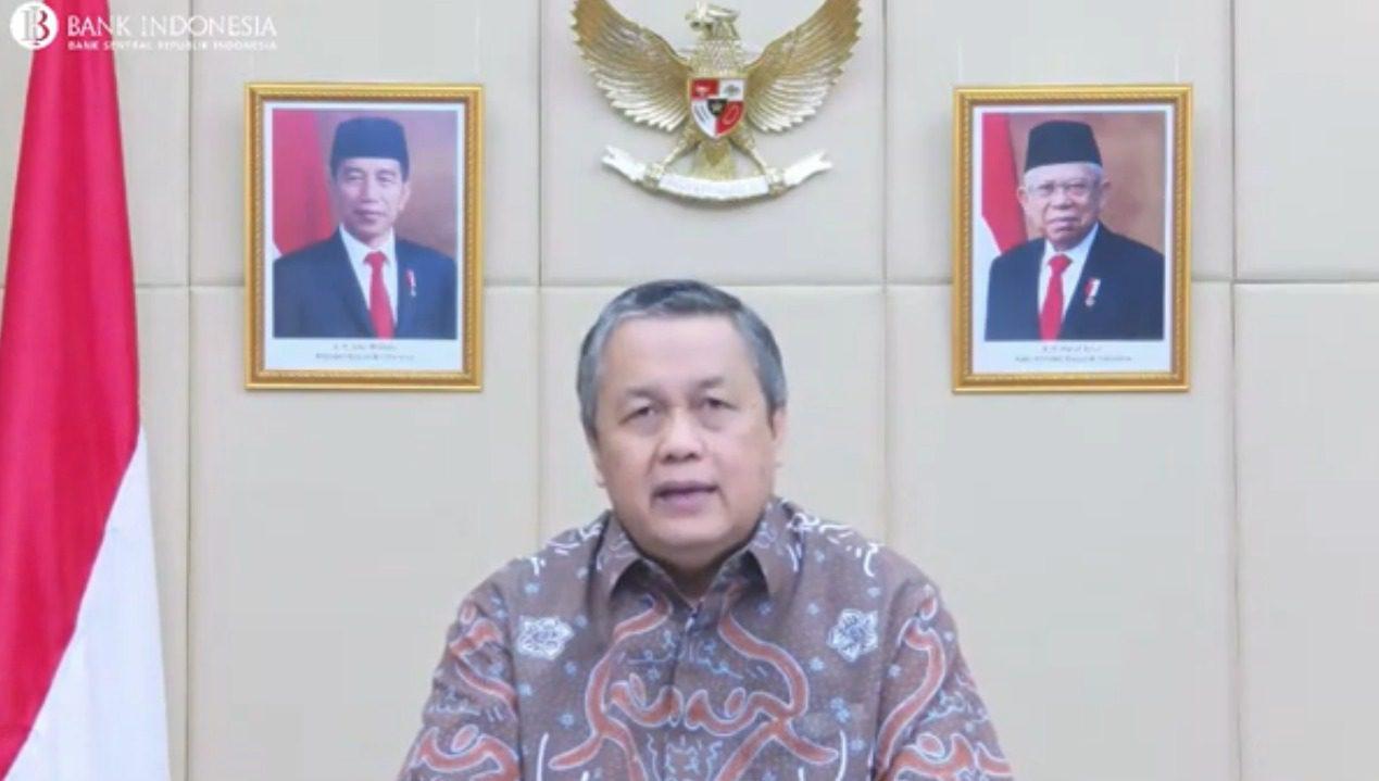 Gubernur Bank Indonesia (BI), Perry Warjiyo, membahas pertumbuhan ekonomi dalam konferensi pers Pengumuman Hasil Rapat Dewan Gubernur Bulan September 2021 secara daring, Selasa (21/9/2021). FOTO: Tangkap layar/Lingkar.co