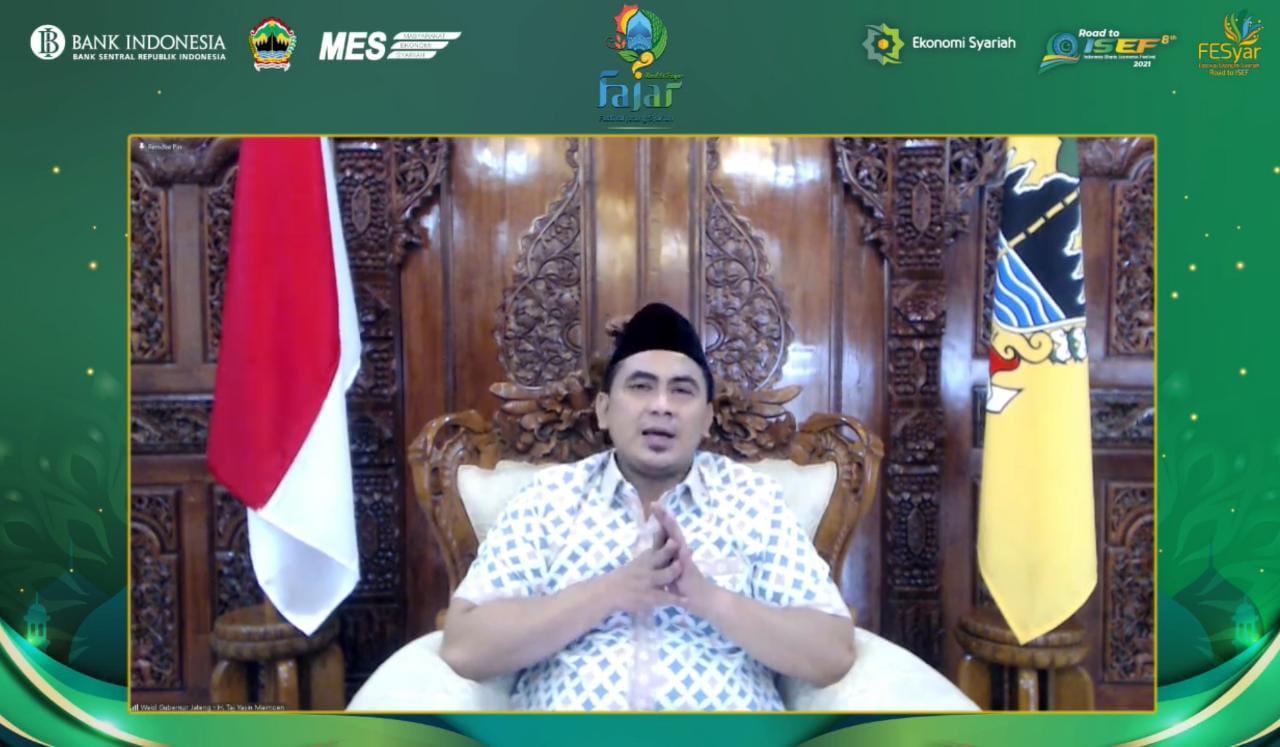 Tangkapan layar Wagub Taj Yasin dalam YouTube Chanel Bank Indonesia Jateng. Lingkar.co