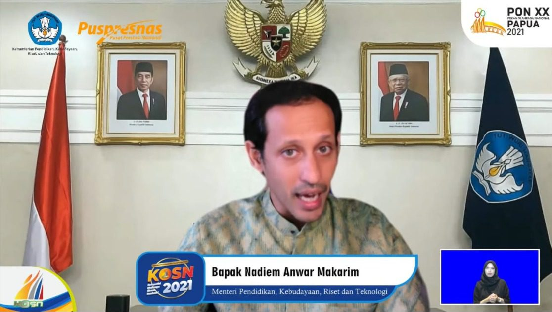 Mendikburistek, Nadiem Anwar Makarim, saat menutup secara resmi KOSN 2021 secara virtual, Sabtu (25/9/2021). FOTO: Dok. Kemendikbudristek/Lingkar.co