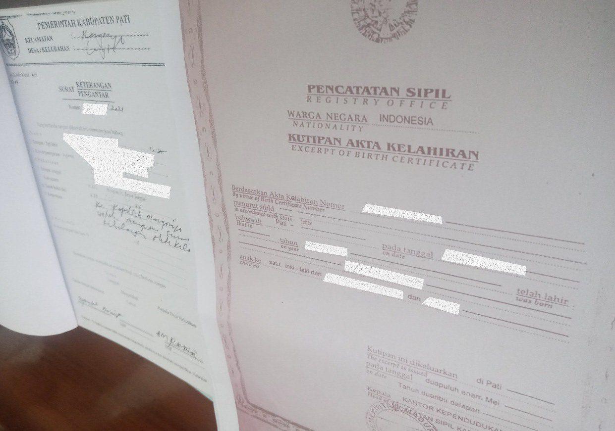 ILUSTRASI: Hasil scane Akta Kelahiran masyarakat Kabupaten Pati. (IBNU MUNTAHA/LINGKAR.CO)