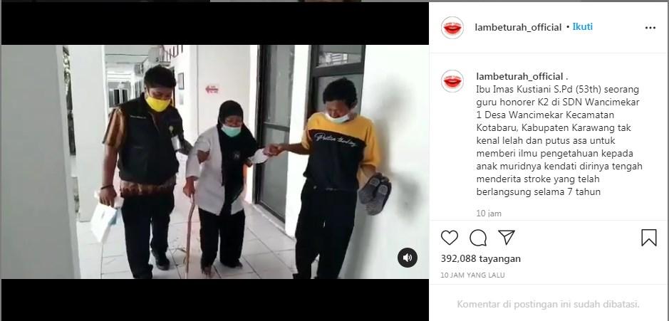 Tangkapan layar unggahan akun Instagram @lambeturah_official. INSTAGRAM/LINGKAR.CO