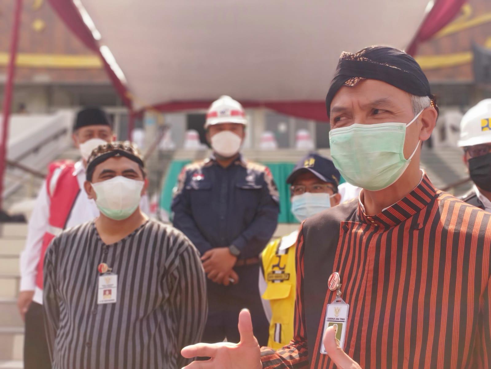 Gubernur Jateng, Ganjar Pranowo, usai seremonial renovasi dan penataan Masjid Baiturrahman Semarang, Kamis (2/9/2021). FOTO: Rezanda Akbar D/Lingkar.co