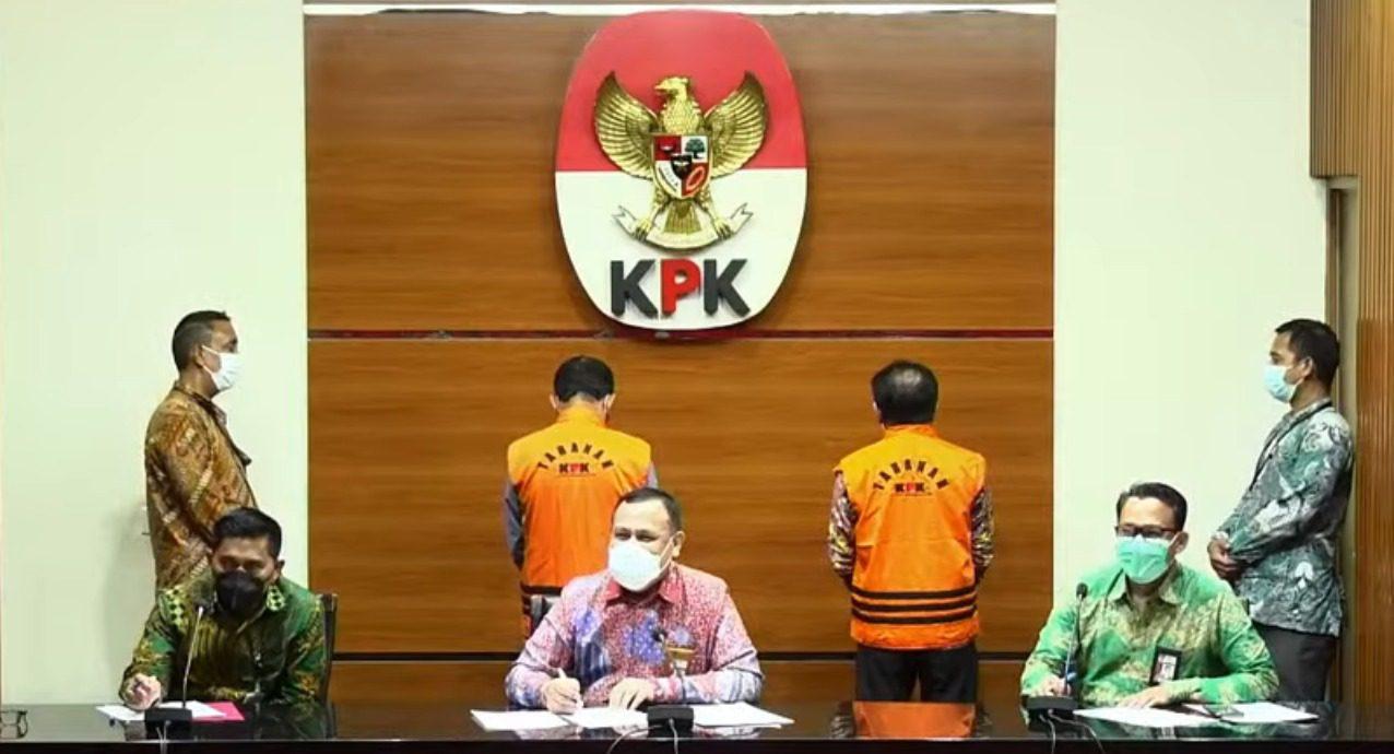 Jumpa pers penetapan tersangka Bupati Banjarnegara, Budhi Sarwono dan Kedy Afandi, atas dugaan tindak pidana korupsi, di Gedung KPK, Jakarta, Jumat (3/9/2021). FOTO: Tangkap layar Video KPK/Lingkar.co