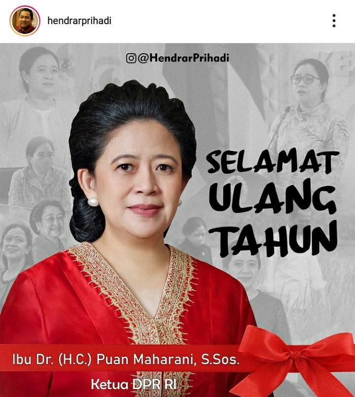 Ucapan selamat ulang tahun untuk Puan Maharani dalam unggahan akun instagram milik Walikota Semarang, Hendrar Prihadi. Instagram @Hendrarprihadi/Lingkar.co