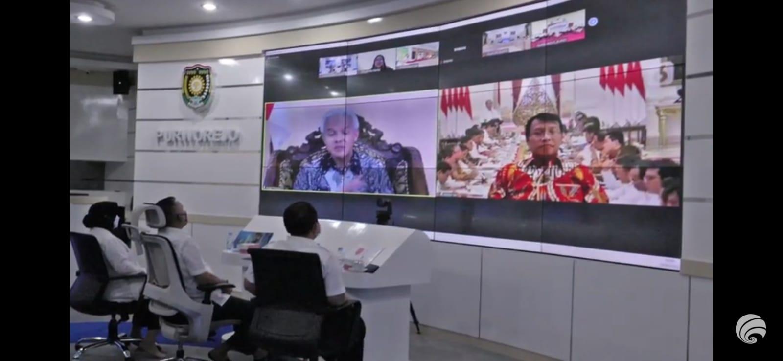 Tangkap layar youtube diskominfo Purworejo, Rakor rapat koordinasi (rakor) secara daring, Rabu (8/9/2021). Foto: Rezanda Akbar/Lingkar.co