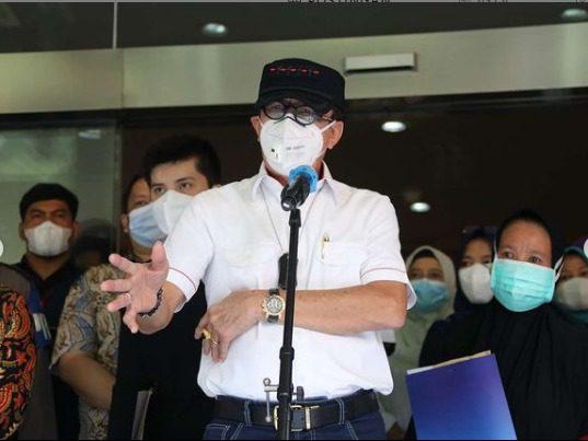 Menteri Hukum dan HAM (Menkumham) Yasonna Laoly, saat memberikan keterangan pers, di RSUD Kabupaten Tangerang, Kamis (9/9/2021) siang. FOTO: Instagram Yasonna Laoly/Lingkar.co