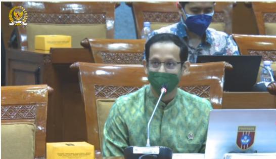 Mendikbudristek, Nadiem Anwar Makarim, dalam rapat kerja dengan Komisi X DPR RI, di Jakarta, Rabu (8/9/2021). FOTO: Tangkap layar Youtube DPR/Lingkar.co