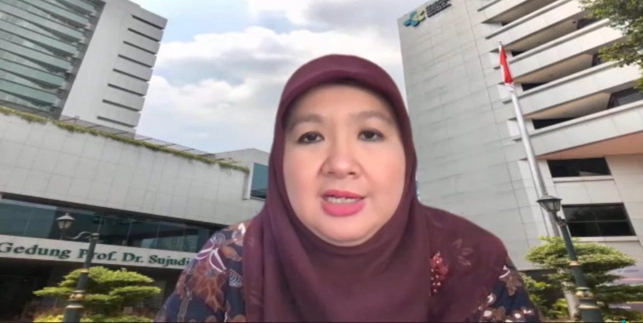 Juru Bicara Vaksinasi Covid-19 Kemenkes dr. Siti Nadia Tarmidzi, M.Epid, dalam konferensi pers virtual, Jumat (10/9/2021). FOTO: Tangkap layar/Lingkar.co