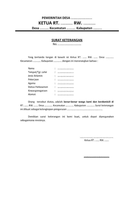 ILUSTRASI Surat Keterangan Domisili. Lingkar.co