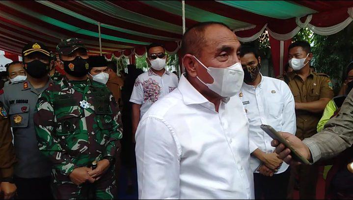 Gubernur Sumatera Utara, Edy Rahmayadi, saat kunjungan kerja ke Kota Pematang Siatar, Selasa (21/9/2021). FOTO: Matius Gea/Lingkar.co