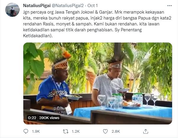 Tangkap Layar Natalius Pigai Yang Diduga Mencuit Postingan Terkait Rasisme/Lingkar.co