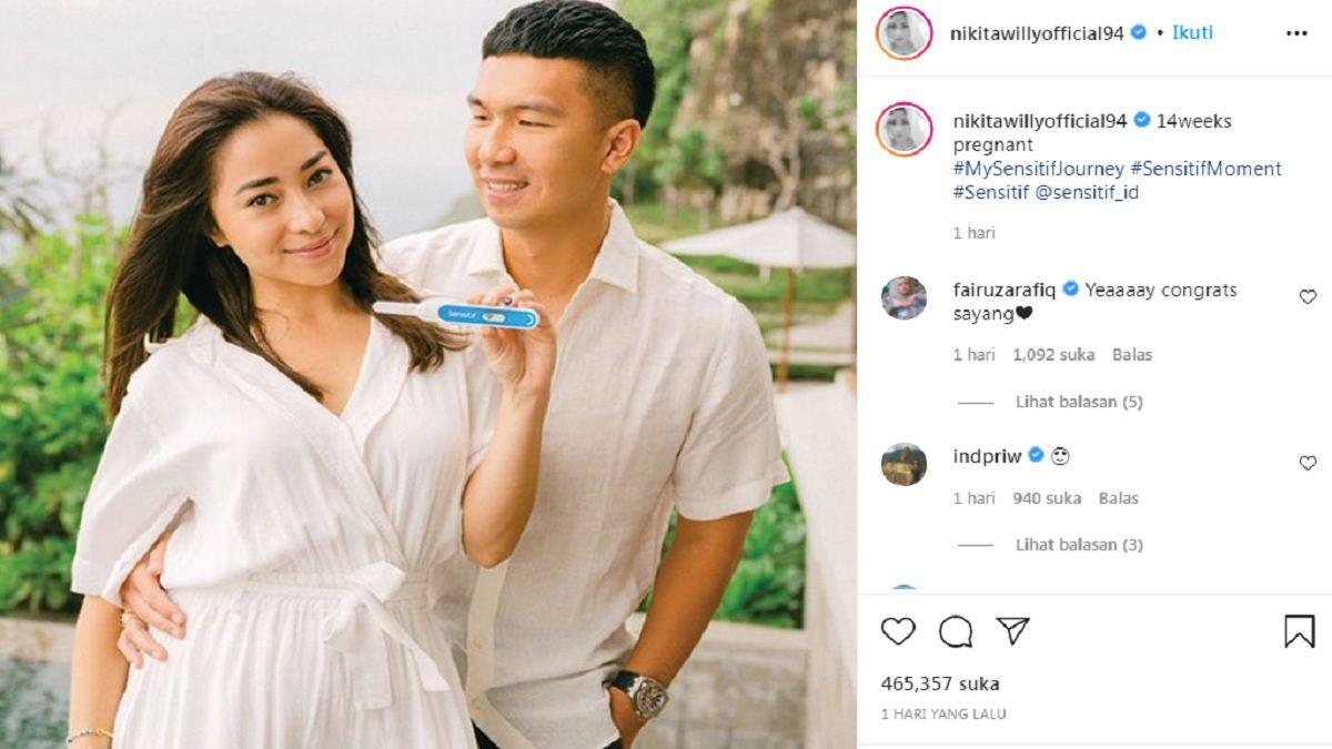 Tangkapan layar Akun Instagram Nikita Willy saat mengumumkan kehamilannya. INSTAGRAM/LINGKAR.CO