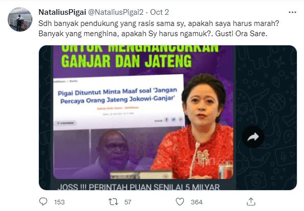 Screenshot Cuitan Natalius Pigai Terkait Dirinya Dibayar Lima MIlyar Oleh Puan/Lingkar.co