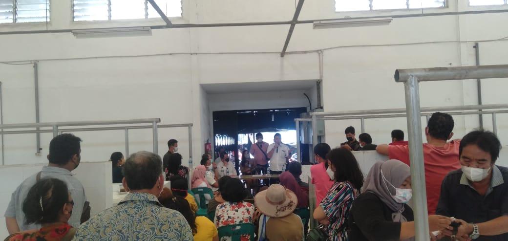 Suasana launching Pasar Rakyat Balairung Rajawali, di jalan Mufakat Kota Pematangsiantar, Rabu (6/10/2021). FOTO: Matius Gea/Lingkar.co