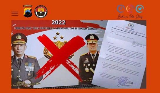 Kalender 2022 yang mencatut institusi Polri, dengan memasang gambar Kapolri dan Kapolda Jateng. FOTO: Instagram Humas Polda Jateng/Lingkar.co