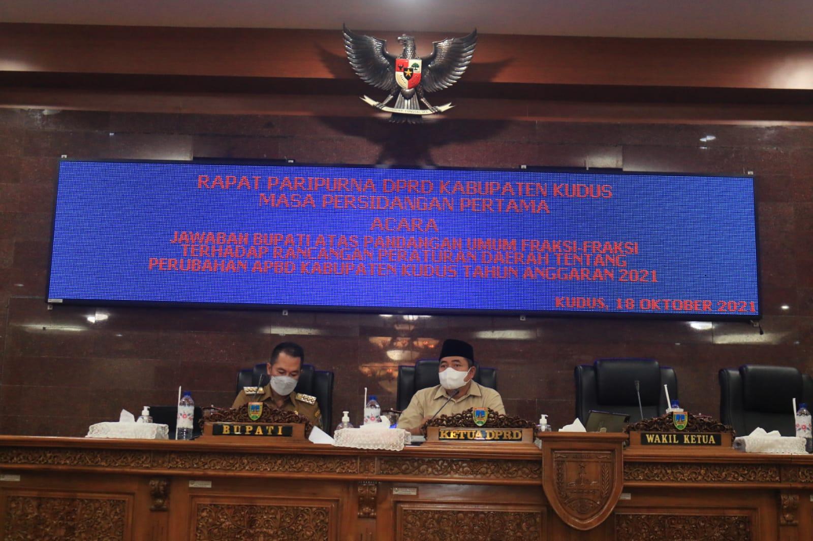 Bupati Kabupaten Kudus HM Hartopo dan Ketua DPRD Kabupaten Kudus Masan. NisaHS/Lingkar.co